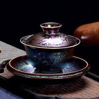 七彩瓷盖碗茶杯大号功夫景德镇茶具套装玉瓷三才杯茶碗家用