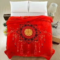 秋冬双人云毯拉舍尔双层加厚2m毛毯被子结婚1.8M大红婚庆盖毯* 200cmx230cm