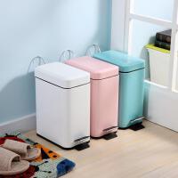 【满减】欧润哲 5升创意时尚垃圾桶 窄身款脚踏式清洁收纳桶静音卧室卫生桶纸篓