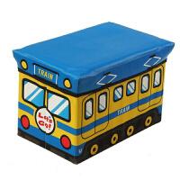 儿童玩具收纳凳储物凳子可坐人衣服收纳箱盒多功能宝宝卡通整理箱 大号黄蓝巴士