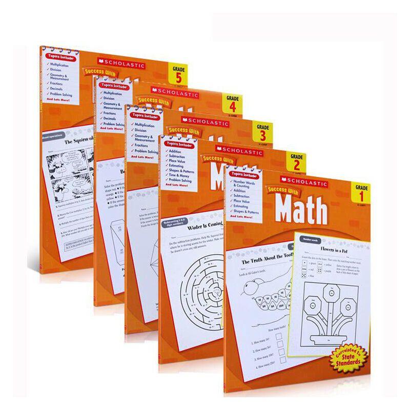 英文原版 学乐能赢 Scholastic Success with Math,Grade 1-5 儿童学习英语数学练习册 中小学生提升巩固学习英语 10岁以上书籍