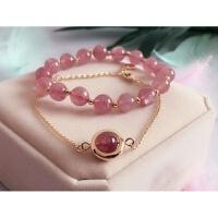 草莓晶玛瑙银手链女士韩版简约学生手串转运珠粉水晶 +手串 剔透