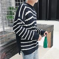 新款日系条纹毛衣男圆领韩版休闲宽松青少年潮流线衣个性破洞打底