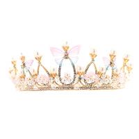 皇冠头饰儿童发饰金色女童公主王冠花童彩色头箍女孩发箍发夹发卡 金色 款式一蝴蝶皇冠