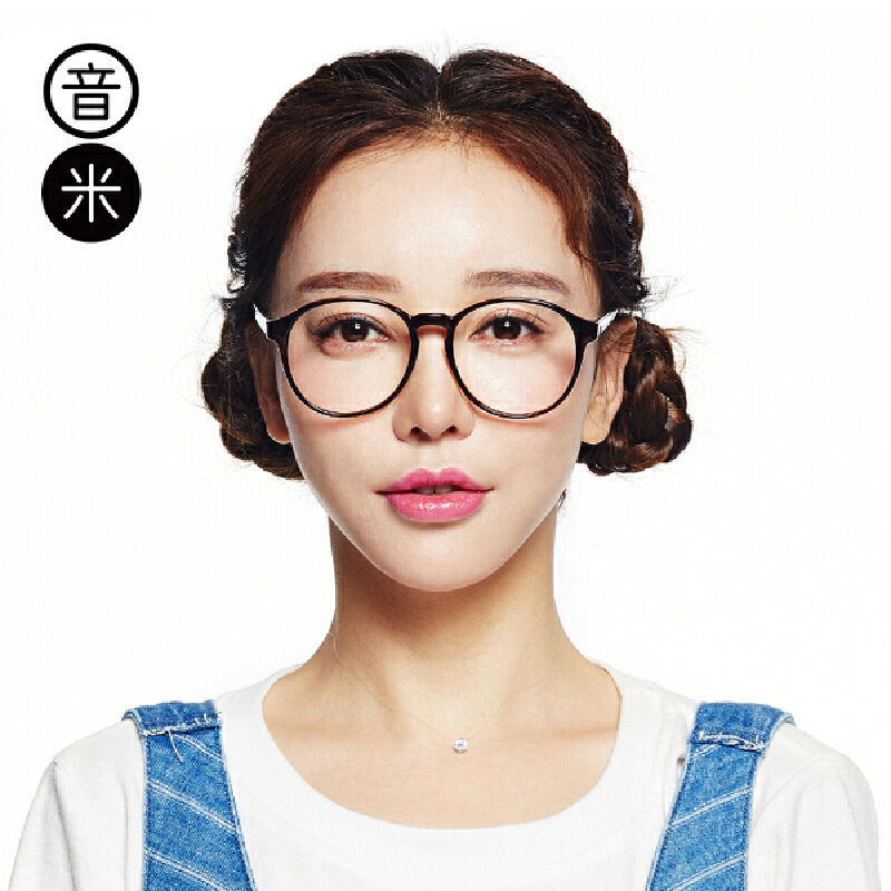 音米大框圆脸眼镜框女复古韩国文艺眼镜框女近视眼睛框镜架女超轻不压鼻梁,不规则圆框超减龄,大脸福音