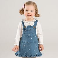戴维贝拉女童秋冬新款牛仔背带裙DBJ8656-2