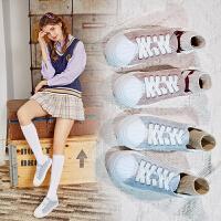 Semir小白鞋女夏季透气平底浅口鞋2019新款百搭透气软底鞋增高板鞋单鞋