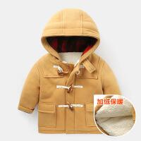 男童中长款风衣呢大衣棉衣加绒外套冬装童装儿童宝宝小童1岁3