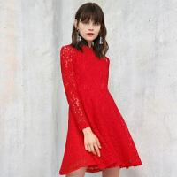 冬装新品 圆领长袖蕾丝裙修身连衣裙Y641628L00