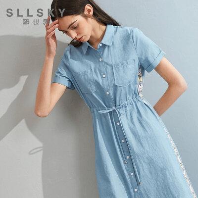 熙世界2018夏季新款中长款短袖连衣裙女牛仔高腰长裙子112LL092