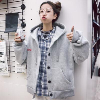 戴帽子的卫衣外套女加绒加厚宽松bf韩版学生秋冬季连帽衫男友风潮 发货周期:一般在付款后2-90天左右发货,具体发货时间请以与客服协商的时间为准