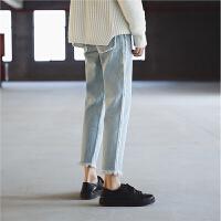 春装新款浅色水洗个性修身九分水洗牛仔裤潮韩版男裤子