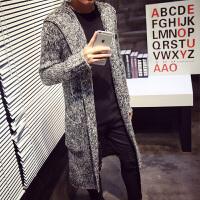 2015秋冬韩版修身中长款风衣外套男呢子潮流针织超长款连帽大衣男