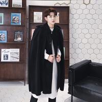 新款呢料大衣男装韩版中长款连帽宽松风衣毛呢外套潮流夜店