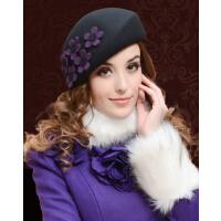 春秋冬天贝雷帽羊毛呢帽礼帽 韩版可爱时尚紫荆花 女帽子女英伦