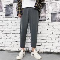 夏季休闲九分裤韩版修身透气薄款小脚裤青少年哈伦裤子西装面料