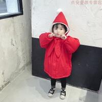 童装女童红色棉衣2018冬装新款儿童中长款圣诞棉袄宝宝新年 红色