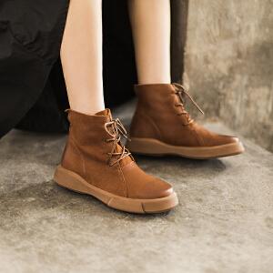 玛菲玛图  新款平底牛皮马丁靴复古厚底女短靴系带单靴子女短筒靴大码马丁靴009-16