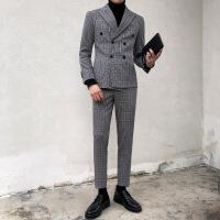 韩版修身格子西服套装男士时尚英伦休闲双排扣西装两件套商务正装 灰色