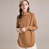 堆堆领中长款色羊绒衫女欧版宽松慵懒针织打底毛衣秋冬