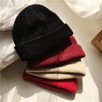 韩国街头潮人网红短版针织帽子女 冬季男士毛线帽潮流情侣包头帽