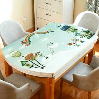 可爱软PVC桌布防水防烫防油免洗餐桌垫椭圆形茶几