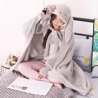 创意长耳朵兔子长毛绒披风斗篷冬季防寒保暖加厚长款挡风披肩 160*120cm
