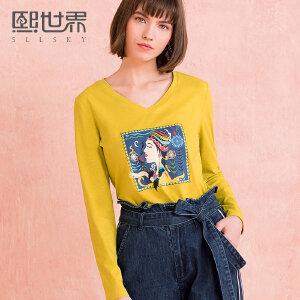 熙世界修身V领长袖T恤女2018年春装新款印花韩版上衣女装111LT189