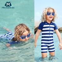 迷你巴拉巴拉幼童小孩连体短袖泳衣套装2018新款夏季儿童泳衣男童