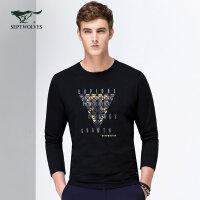 七匹狼圆领长袖T恤 2018年春季新品 青年男士时尚休闲修身印花长T