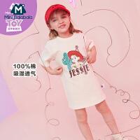 【99元任选3件】迷你巴拉巴拉女童短袖体恤衫夏装新款儿童纯棉卡通长款t恤