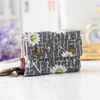 韩版三折卡通帆布多功能钱包 男女短款可爱布艺卡包钥匙包零钱包