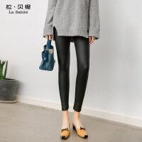 2017秋冬季新款韩版百搭高腰pu皮黑色加厚加绒显瘦打底裤子女外穿