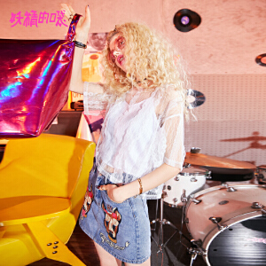 妖精的口袋2018新款镂空日系甜美chic两件套雪纺蕾丝衫女