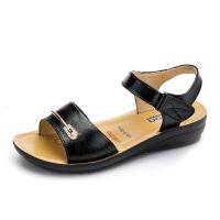新款妈妈凉鞋真皮软底大码中老年夏季平底凉鞋中年女鞋平跟老人凉鞋子