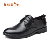 红蜻蜓男鞋冬季新款圆头系带真皮透气单鞋棉鞋男商务男士皮鞋
