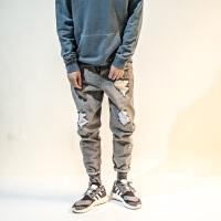 日系做旧刮烂哈伦牛仔长裤男宽松直筒2018新款青年休闲灰色破洞裤