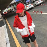 带帽卫衣女原宿风加绒开衫中国有嘻哈街头hiphop爵士舞棒球服外套