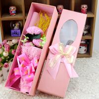 康乃馨三朵花束香皂花礼盒创意小礼品送妈妈送朋友生日节日礼物SN5325 混色