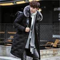 韩版青少年保暖外套冬装棉衣男中长款狐狸毛连帽修身潮流