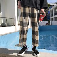 男士裤子休闲裤男格子韩版潮流宽松直筒九分裤夏季薄款时尚工装裤