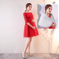2018新款冬季短裙中长款敬酒服新娘结婚宴会显瘦女孕妇高腰晚礼服 搭配披肩