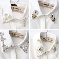 2018韩版新款钉珠长袖女式衬衣水钻领子OL白衬衫打底上衣雪纺衬衫 (加绒)