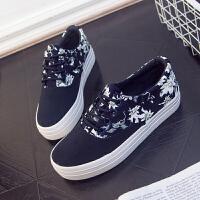 2018春季新款帆布鞋女韩版系带厚底松糕鞋休闲帆布鞋女学生时尚板鞋碎花单鞋子