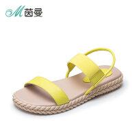 茵曼女鞋一字带露趾沙滩平底罗马鞋波西米亚凉鞋女4882050017T