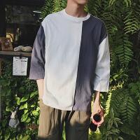 男士短袖T恤打底衫帅气潮流拼色个性宽松风七分袖潮