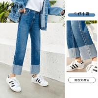 森马牛仔裤女春季新款休闲时尚卷边直筒显瘦九分裤学生潮流