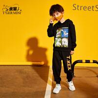 【2件3折到手价:116.7元】小虎宝儿男童秋装套装2019新款洋气儿童套头卫衣加绒运动裤两件套