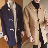 男士毛呢外套中长款冬季韩版时尚牛角扣潮流呢子风衣青年羊绒大衣