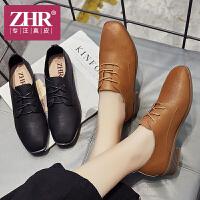 ZHR2018春季新款软妹小皮鞋粗跟单鞋百搭休闲鞋子英伦风学生女鞋J53